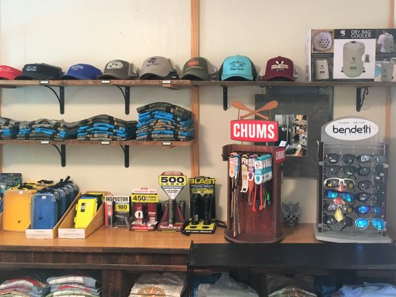 We sell t-shirts, hats, sunglasses, and other paddling essentials